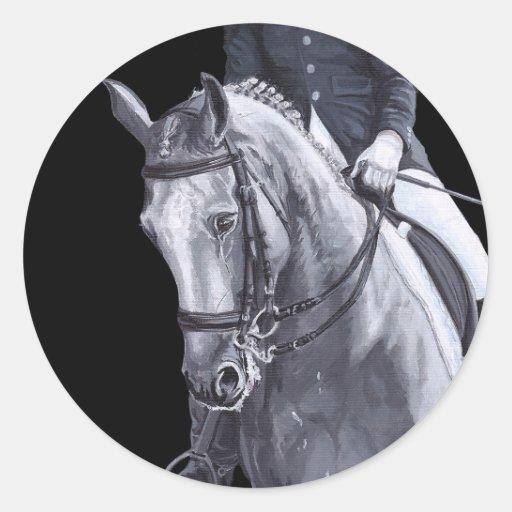 black white duo dressage horse sticker zazzle. Black Bedroom Furniture Sets. Home Design Ideas