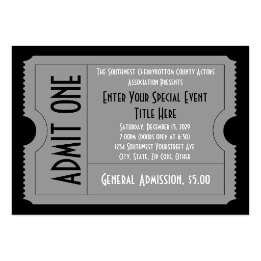 black white event ticket pack lg business card sz zazzle. Black Bedroom Furniture Sets. Home Design Ideas