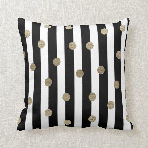 black white gold dot stripe throw pillow zazzle. Black Bedroom Furniture Sets. Home Design Ideas