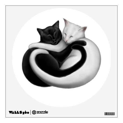 Black & White Love Cats Wall Decal