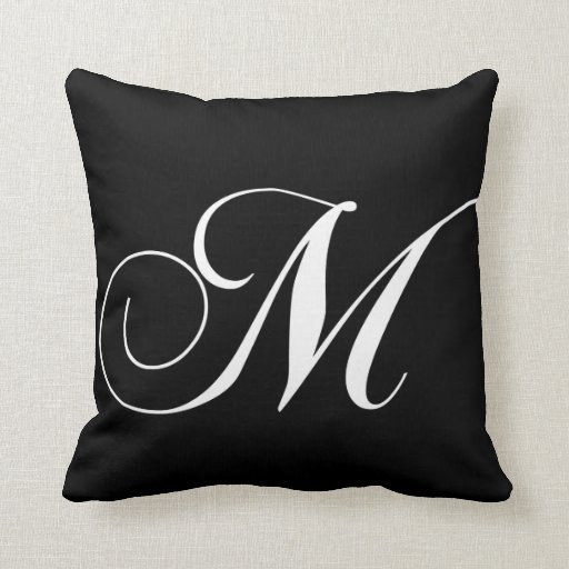 Black White Monogram M Designer Monogrammed Pillow Zazzle