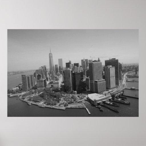 black white new york city skyline poster zazzle. Black Bedroom Furniture Sets. Home Design Ideas