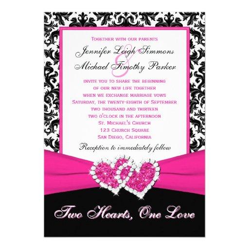 "Black White Wedding Invitations: Black White Pink Damask Hearts Wedding Invitation 5"" X 7"