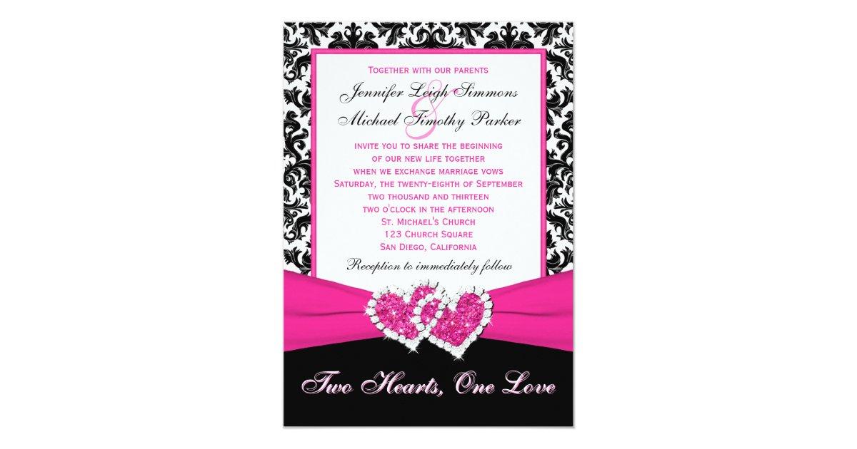 Red Black And White Wedding Invitations: Black White Pink Damask Hearts Wedding Invitation