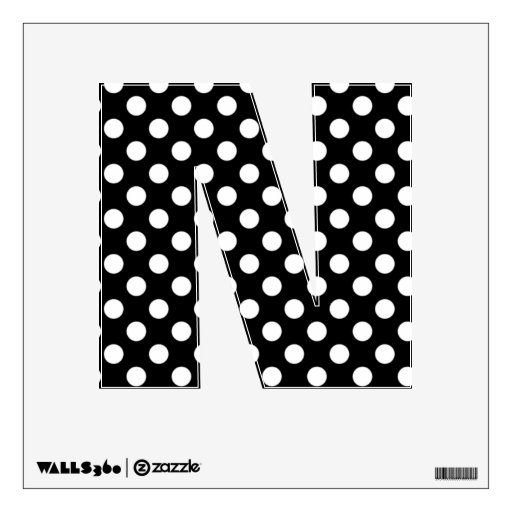 Black & White Polka Dot Letter N Wall Decal | Zazzle