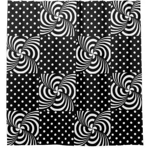 black white polka dots pattern shower curtain zazzle. Black Bedroom Furniture Sets. Home Design Ideas