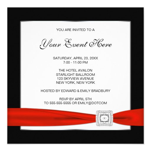 Personalized Red And Black Party Invitations
