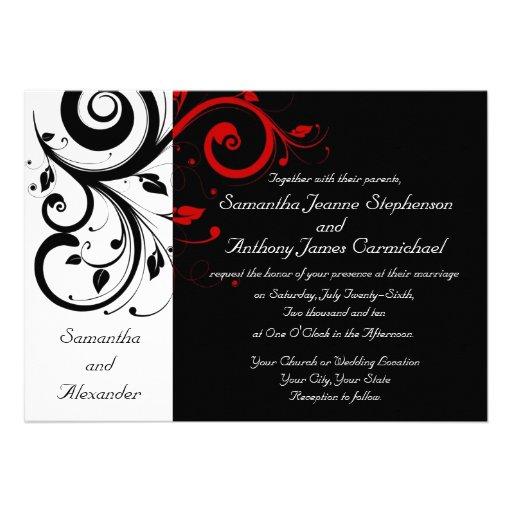Personalized Red White Black Wedding Invitations