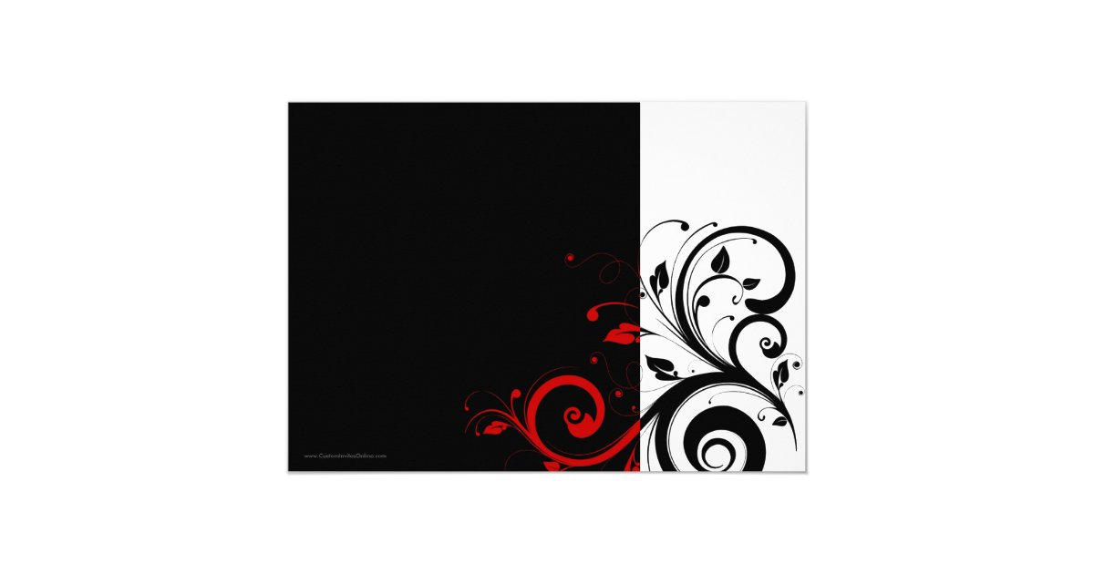 Red And Black Wedding Invitations Templates: Black/White/Red Reverse Swirl Wedding Invitations
