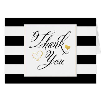 Black & White Stripe Shower Gold Accents Thank You ...