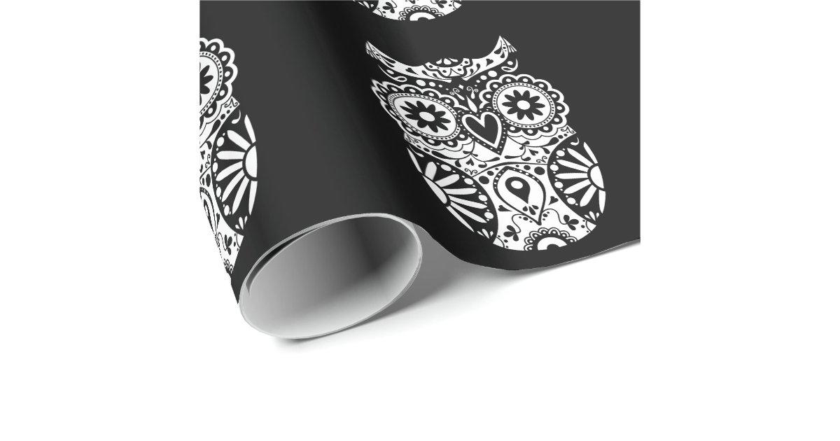 Black & White Sugar Skull Owl Wrapping Paper | Zazzle