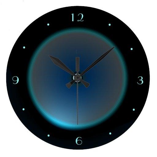 Black With Illuminated Blue Aqua Face Gt Wall Clock Wall