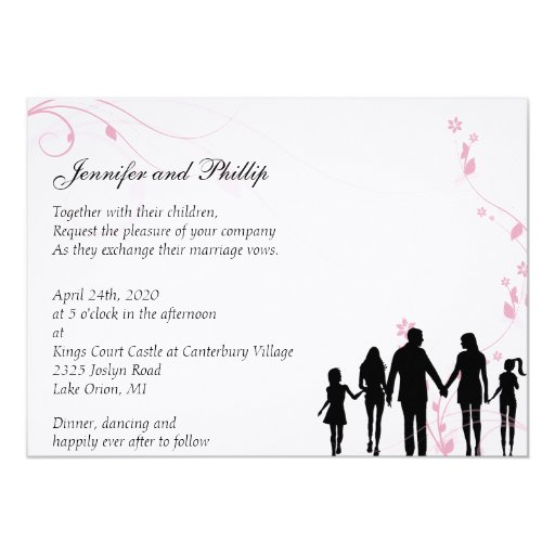 Simple Wedding Family Pictures: Blended Family Wedding Invitation