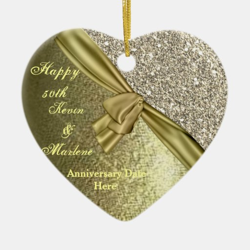 Bling Gold Custom 50th Anniversary Gift Ornament Zazzle