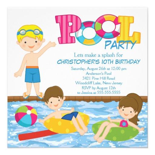 Blonde Boy Birthday Summer Pool Party Invitation