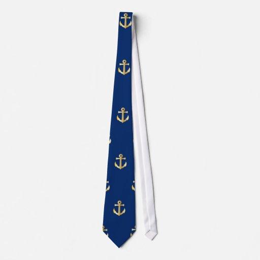 Blue anchor pattern neck tie   Zazzle