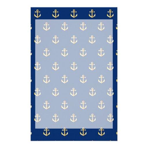 Blue anchor pattern stationery   Zazzle