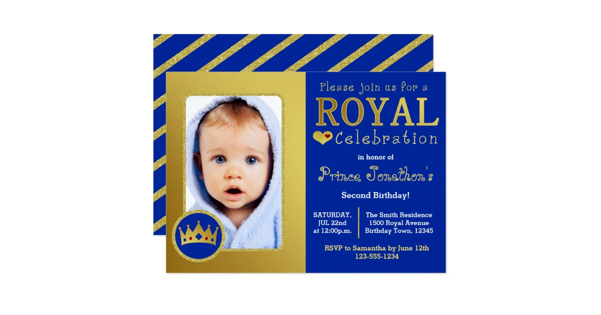 Blue and Gold Royal Prince Birthday Party Photo Card | Zazzle