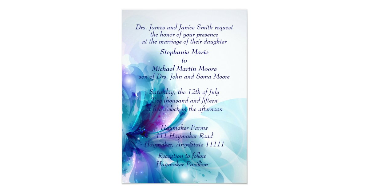 Purple And Blue Wedding Invitations: Blue And Purple Floral Design Wedding Invitation