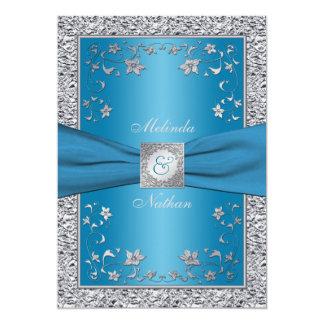 Silver And Aqua Blue Wedding Invitations