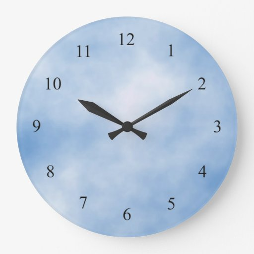 Blue And White Cloudy Day Kitchen Wall Clock Zazzle