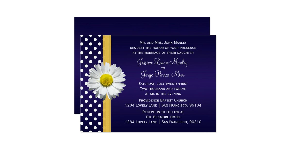 Blue And Yellow Wedding Invitations: Blue And Yellow Daisy Wedding Invitation