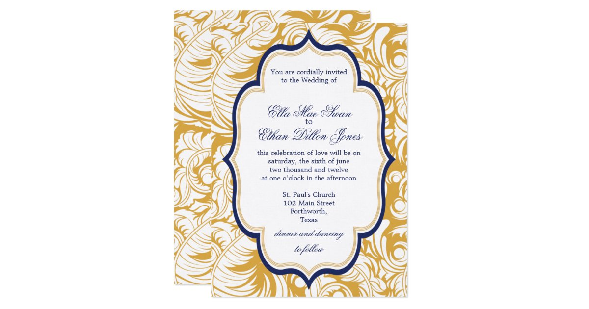 Blue And Yellow Wedding Invitations: Blue And Yellow Damask Wedding Invitations