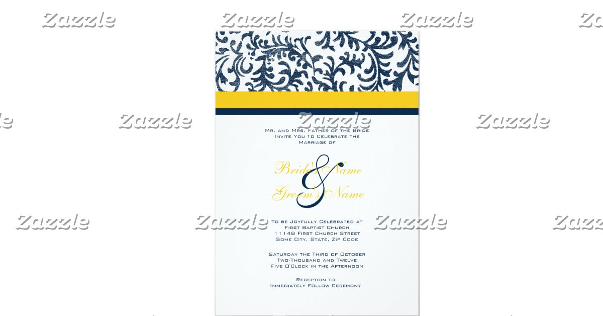 """Blue And Yellow Wedding Invitations: Blue And Yellow Wedding Invitation 5"""" X 7"""" Invitation Card"""