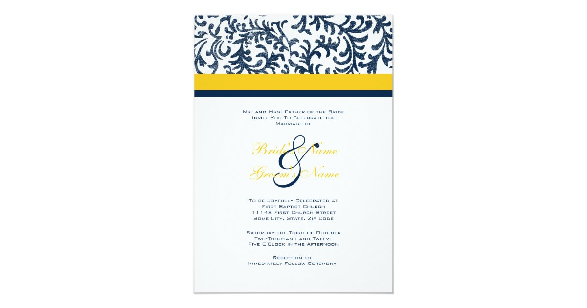 Blue And Yellow Wedding Invitations: Blue And Yellow Wedding Invitation