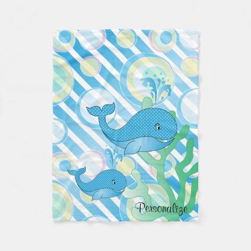 Blue Baby Boy Whale Fleece Blanket Zazzle