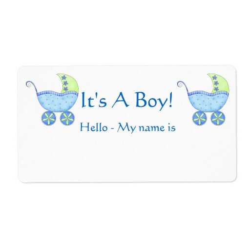 Boys Premium Name Labels: Blue Baby Buggy It's A Boy Shower Name Tag Label