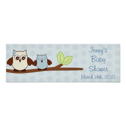 Baby Shower Custom Banners: Blue Baby Owl Personalized Baby Shower Banner Poster