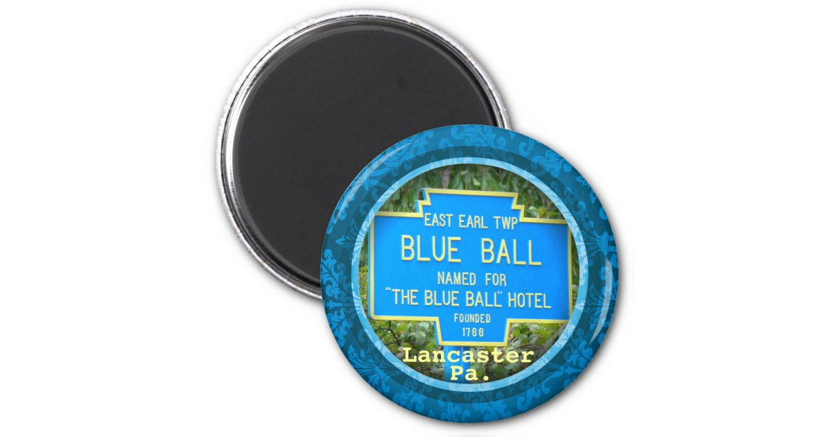 Blue Ball Magnet Lancaster County Pa Amish 2 Inch Round