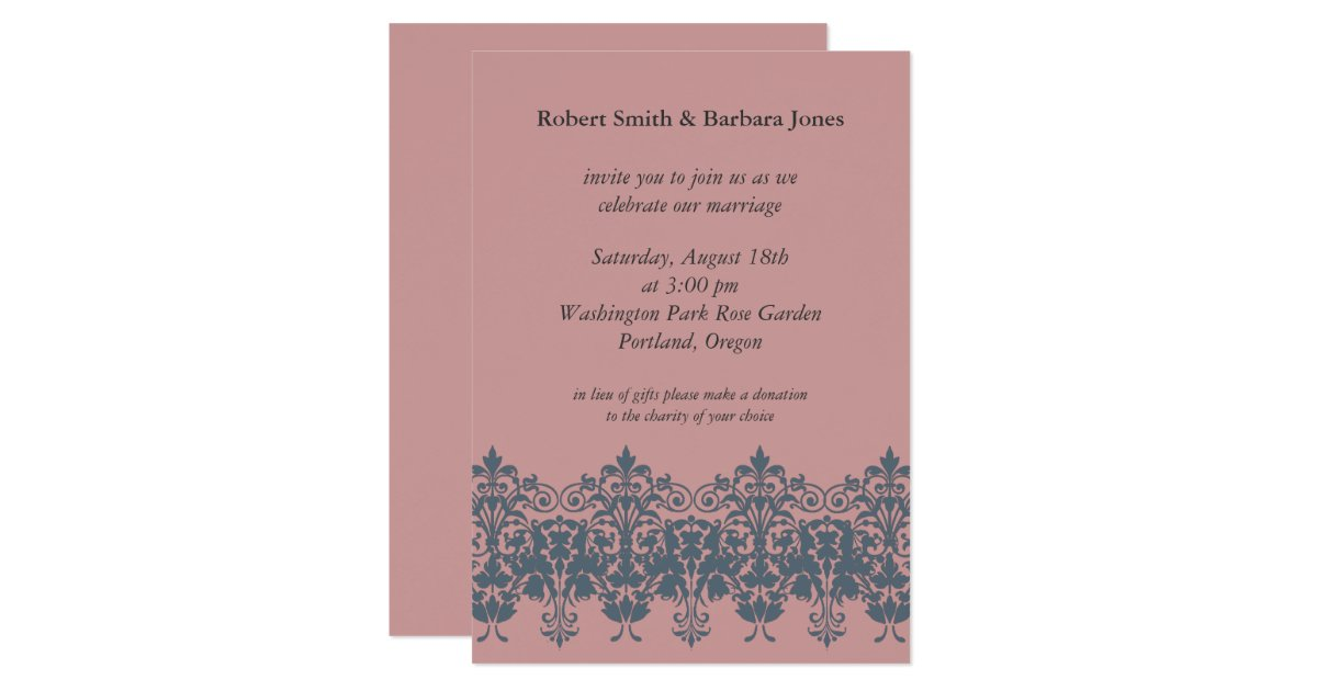 Blue And Coral Wedding Invitations: Blue Coral Wedding Invitation Pink Wedding Invite
