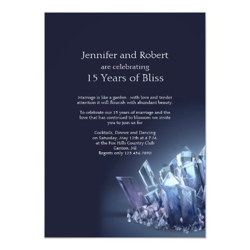 Crystal Gifts For 15th Wedding Anniversary: Blue Crystal 15th Wedding Anniversary Card