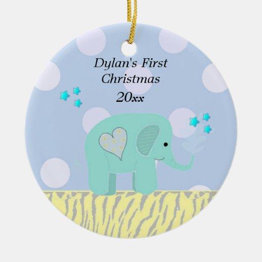 Blue Elephant Baby S First Christmas Ceramic Ornament Zazzle