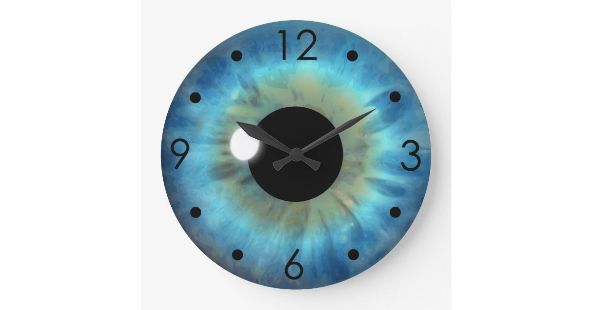 Blue Eye Iris Eyeball Custom Large Round Clock Zazzle