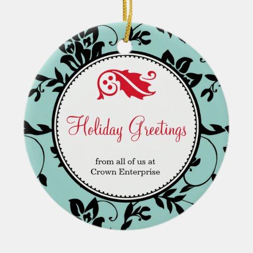 Company Logo Christmas Ornaments: Blue Floral Holiday Greeting Custom Business Logo Ornament