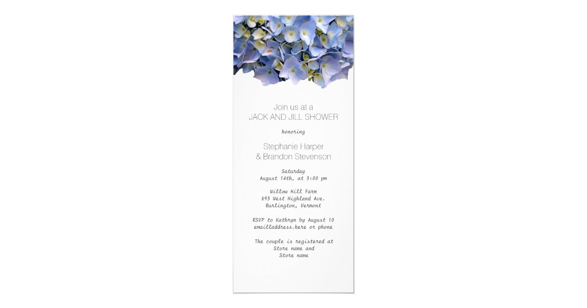 Jack And Jill Wedding Shower Ideas: Blue Floral Jack And Jill Wedding Shower Card