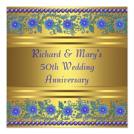 Flower For 50th Wedding Anniversary: Blue Flowers Gold 50th Wedding Anniversary Card