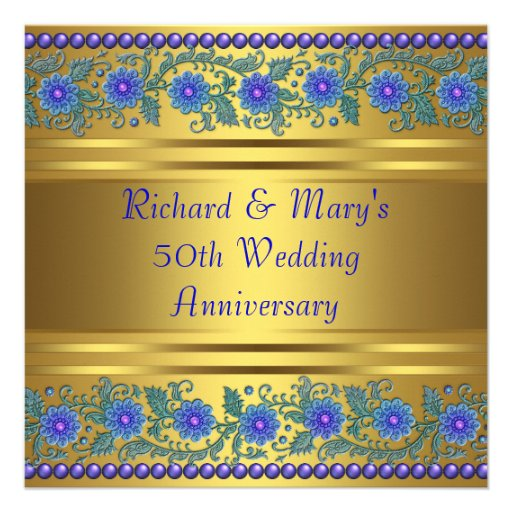 Flowers For Golden Wedding Anniversary: Blue Flowers Gold 50th Wedding Anniversary 5.25x5.25