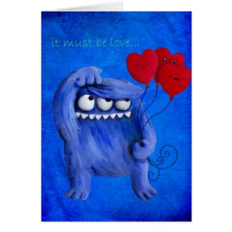 Blue Furry Love with Balloons Greeting Cards