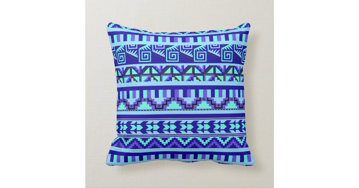 Blue Geometric Abstract Aztec Tribal Print Pattern Throw ...
