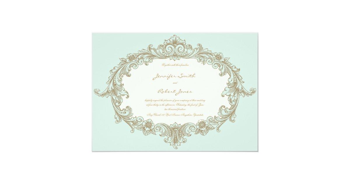 Cream And Gold Wedding Invitations: Blue Gold Cream Vintage Frame Wedding Invitation