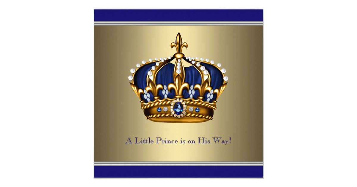 Blue Gold Crown Little Prince Boy Baby Shower Card Zazzle