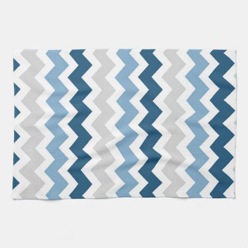 Black And White Chevron Hand Towels: Blue Gray Chevron Kitchen Cloth Towel