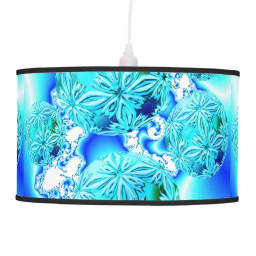 Fractal Pendant Lights: Blue Ice Crystals Abstract Aqua Azure Cyan Fractal Hanging