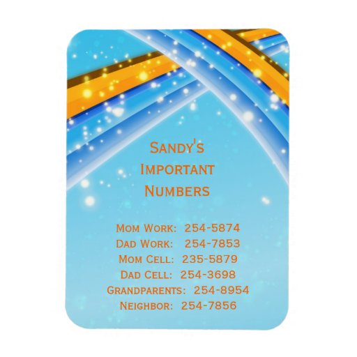 Blue Important Phone Numbers Magnet Zazzle