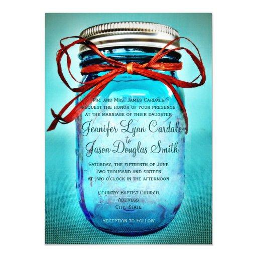 Wedding Invitations Mason Jar: Blue Mason Jar Rustic Country Wedding Invitations