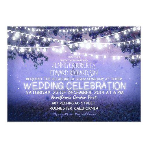 Garden Wedding Invitation Ideas: Blue Night & Garden Lights Rustic Wedding 5x7 Paper